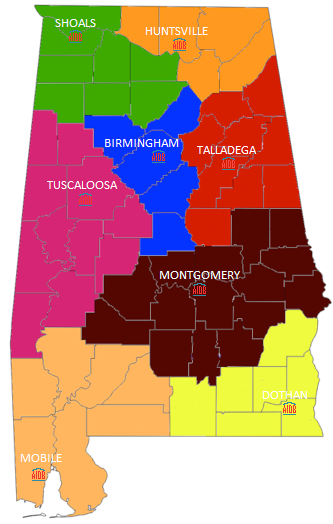 Map depicting different counties in different colors corresponding to regional center that covers them.