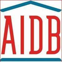 AIDB logo blue house outline with AIDB in red lettering