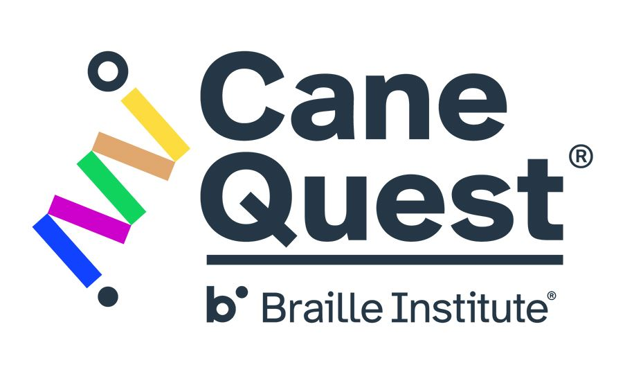Cane Quest AL Logo, the words Cane Quest in black over the words Braille Institute also in black