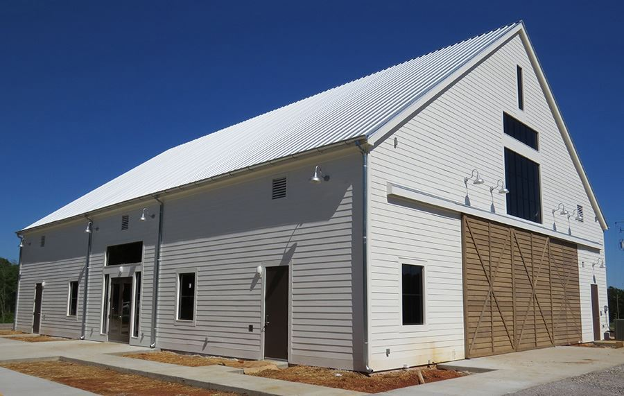 A side view of the Joe Tom Armbrester Agricscience Center as it nears completion